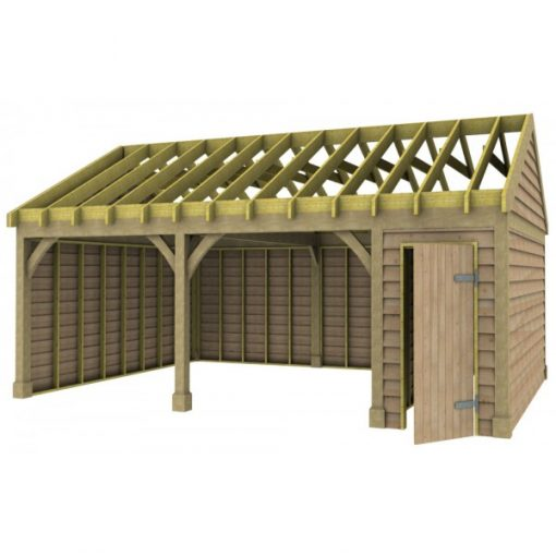 2 Bay Garage with Low Pitch Gable Roof and Half Bay Side Store Rafters