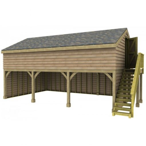 3 Bay Garage with Med Pitch Raised Eave Gable End Room in Roof