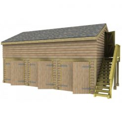 3 Bay Garage with Med Pitch Raised Eave Gable End Room in Roof 7x7 Doors