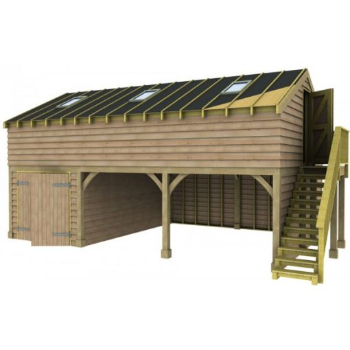 2 Bay Garage with Raised Eave Gable End Room in Roof and Side Workshop Sarked