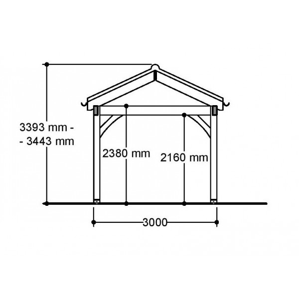 1 Bay Carport with Low Pitch Hipped Roof Side Section