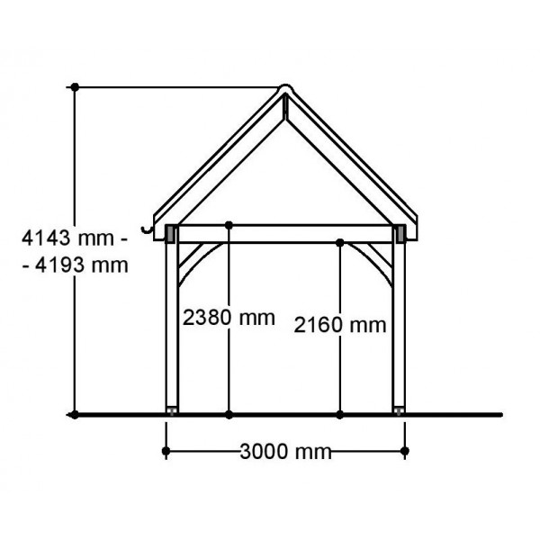 1 Bay Carport with High Pitch Gable Fronted Roof Side Section