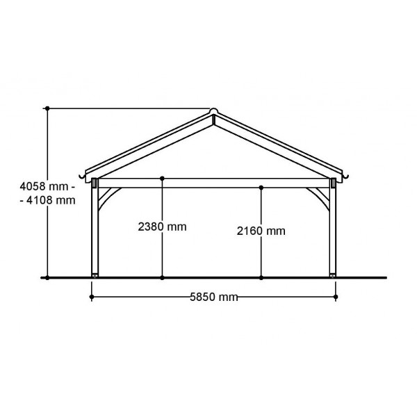 2 Bay Garage with Low Pitch Gable Fronted Roof Side View