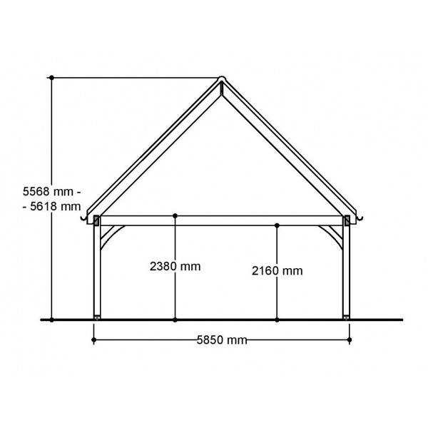 2 Bay Garage with High Pitch Gable Front Roof Side View