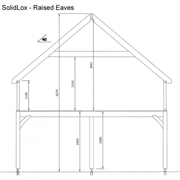 3 Bay Garage with Med Pitch Raised Eave Gable End Room in Roof Side View
