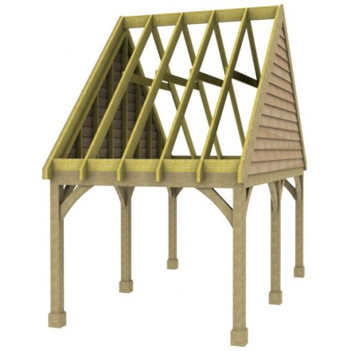 1 Bay Carport with High Pitch Gable End Roof Rafters
