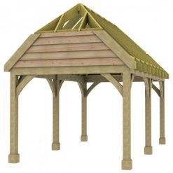 1 Bay Carport with High Pitch Barn End Roof Rafters