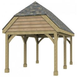 1 Bay Carport with High Pitch Barn End Roof