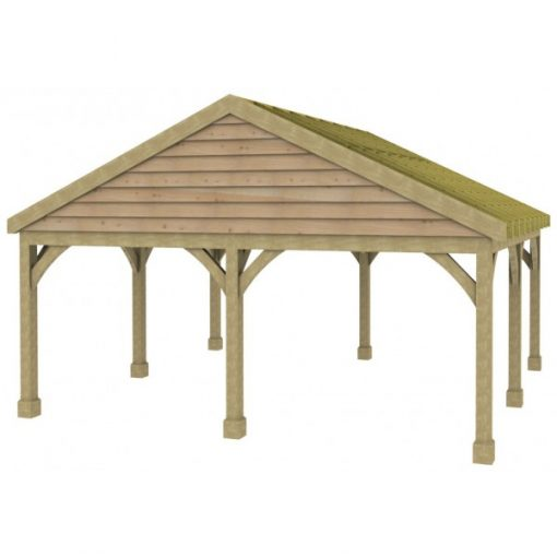 2 Bay Carport with Low Pitch Gable Fronted Roof Rafters