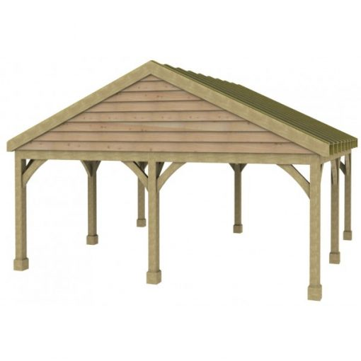 2 Bay Carport with Low Pitch Gable Fronted Roof Sarked