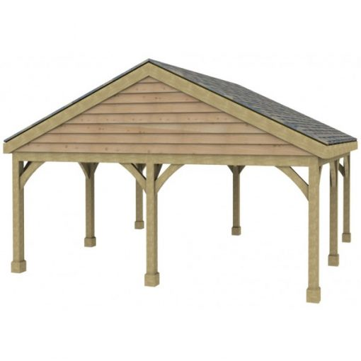 2 Bay Carport with Low Pitch Gable Fronted Roof