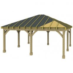 2 Bay Carport with Low Pitch Hipped Roof Sarked