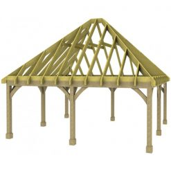 2 Bay Carport with High Pitch Hipped Roof Rafters