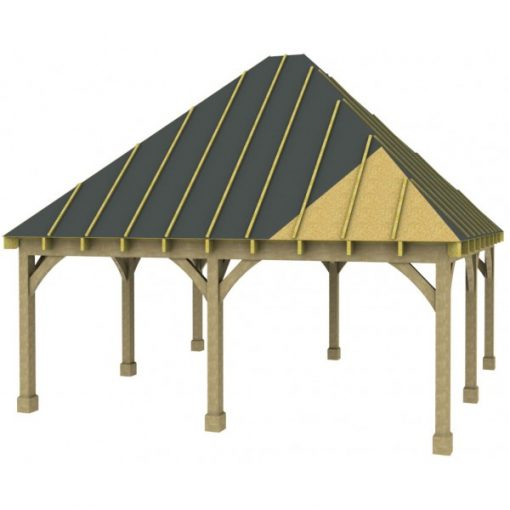 2 Bay Carport with High Pitch Hipped Roof Sarked