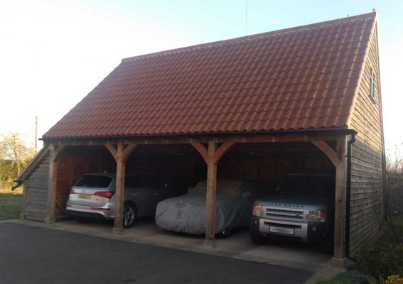 3 Bay Garage with Side Log Store