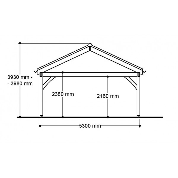 2 Bay Carport with Low Pitch Gable End Roof Side Section