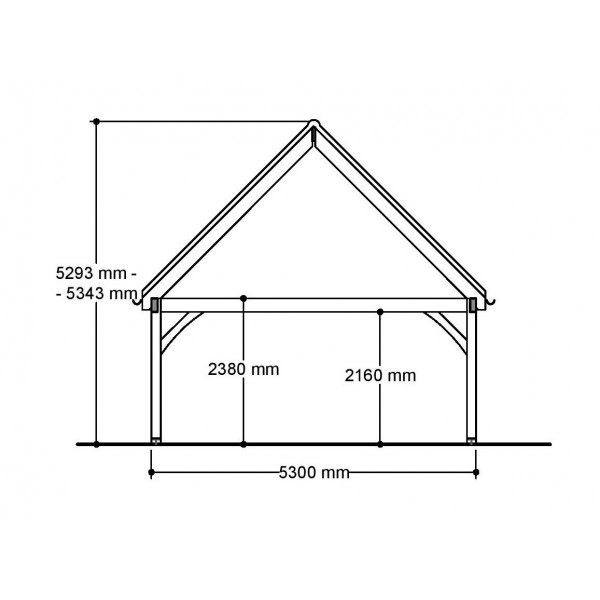 1 Bay Carport with High Pitch Gable End Roof Side Section