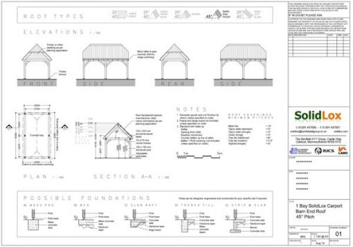 1 Bay Carport with Barn End Roof Planning Drawings
