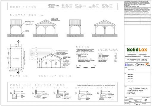 1 Bay Carport with Low Pitch Gable End Roof Planning Drawings