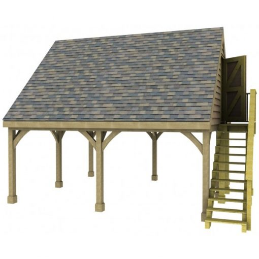 2 Bay Carport with Gable End Room in Roof