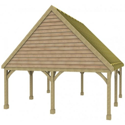 2 Bay Carport with High Pitch Gable Fronted Roof Rafters