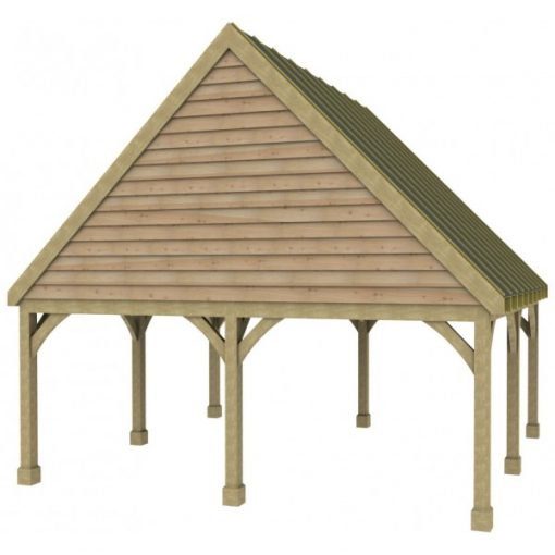 2 Bay Carport with High Pitch Gable Fronted Roof Sarked