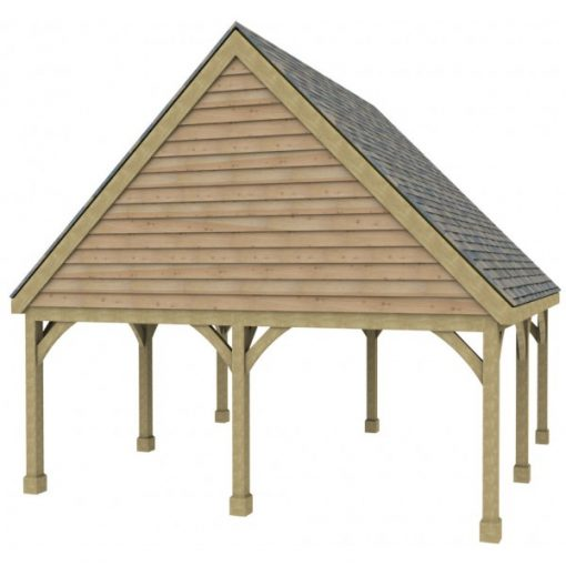2 Bay Carport with High Pitch Gable Fronted Roof