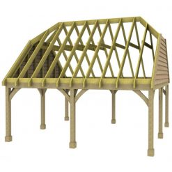2 Bay Carport with High Pitch Barn End Roof Rafters