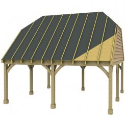 2 Bay Carport with High Pitch Barn End Roof Sarked