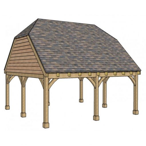 2 Bay Carport with High Pitch Barn End Roof