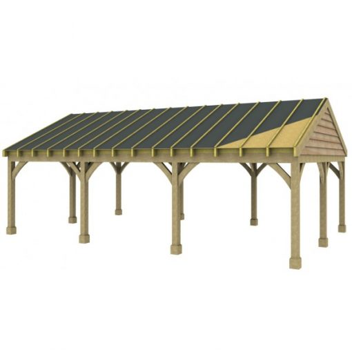3 Bay Carport with Low Pitch Gable End Roof Sarked
