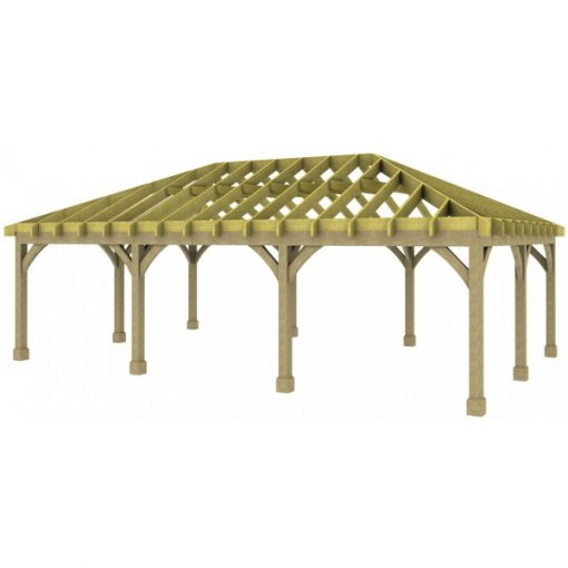3 Bay Carport with Low Pitch Hipped Roof Rafters