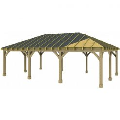 3 Bay Carport with Low Pitch Hipped Roof Sarked