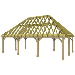 3 Bay Carport with High Pitch Hipped Roof Rafters