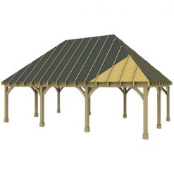3 Bay Carport with High Pitch Hipped Roof Sarked