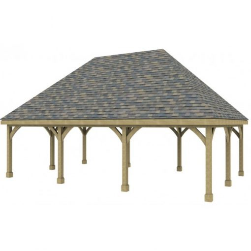 3 Bay Carport with High Pitch Hipped Roof