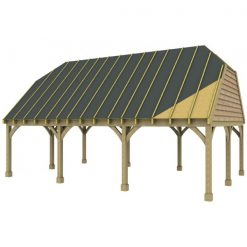 3 Bay Carport with High Pitch Barn End Roof Sarked