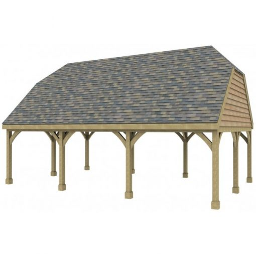 3 Bay Carport with High Pitch Barn End Roof